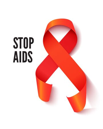 AIDS awareness symbol realistic vector illustration. Acquired immune deficiency syndrome prevention banner decorative design element. Red solidarity ribbon illustration with typography Illusztráció