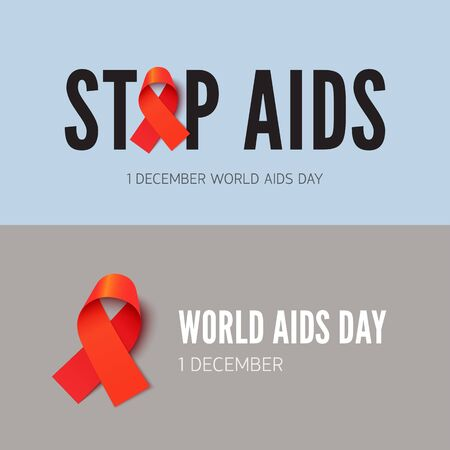 Stop AIDS, HIV awareness banner vector templates set. People with acquired immune deficiency syndrome support campaign. Medical disease tolerance, health care concern poster concept with red ribbon