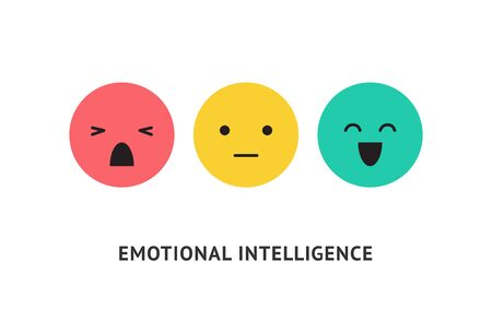 Emotion faces, positive, negative and neutral expressions vector illustration. Bad and good review, rating scale, emotional intelligence. Happy and sad green, yellow and red emoticons