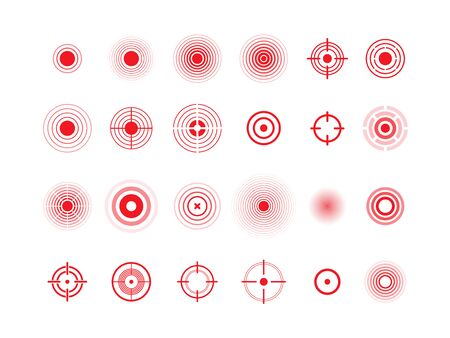 Pain circles, red target vector icons set. Red rounds, ache symbols collection. Pain localization marks isolated pack on white background. Body ache place radial abstract sign illustrations
