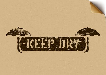 Keep dry black box sign with umbrella on craft paper. Vector grunge illustration Stock Illustratie