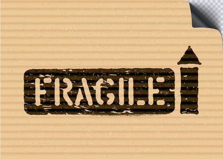 Grunge Fragile cargo box sign with arrows on cardboard paper background for logistics. Mean this way up, handle with care. Vector illustration