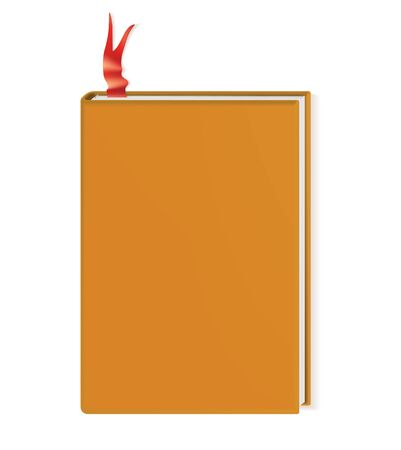 Book with blank cover realistic vector illustration. Closed diary mock up. Copybook with hardcover. Blank planner with red bookmark. School textbook, organizer isolated on white background