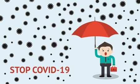 Insurance covering covid 19 for business vector illustration of big red umbrella. Coronavirus protection concept