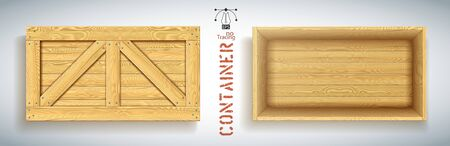 Wood box top view with open nailed lid. Realistic crate mockup for import and export of goods. Delivery box with empty space on white backdrop. Cardboard object with drop shadow