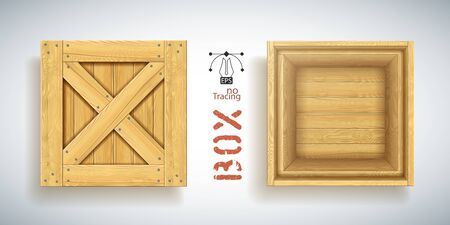 Wooden container. Nailed lid with crossed timbers. Shipping supplies. Storage unit for warehouse. Parcel delivery. Realistic rendered crate mockup. Export and import of goods. Pack transportation