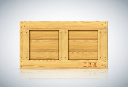 Front view of large wood box on white background. Parcel for export with handle with care marks. Realistic storage unit with markes for order protection. Cargo transportation object
