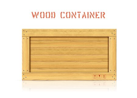Wood simple vector container with planks and freight symbols