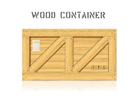 Large wooden cargo box vector mockup element