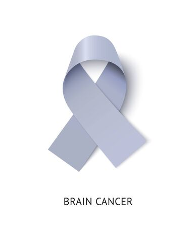 Brain cancer awareness ribbon vector realistic illustration Ilustracja