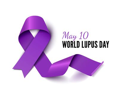 World Lupus Day purple ribbon realistic vector banner template
