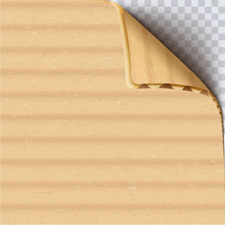 Cardboard paper with curled corner realistic vector square background