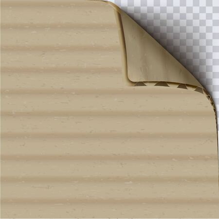Cardboard with curled corner realistic vector square background