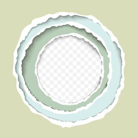 Torn paper sheets rough circular borders realistic illustration