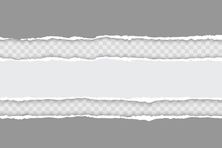 Torn ripped white and gray paper strips with soft shadow on transparent background. Realistic vector template illustration Vettoriali