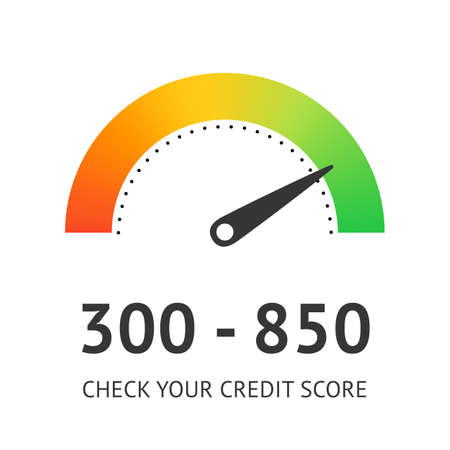 Check credit score concept. Financial rating vector illustration flat design isolated on white background ui for web site and applications