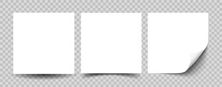 Collection of white note papers with curled corner ready for your message. Realistic vector illustration of sticky paper isolated on gray background close up.
