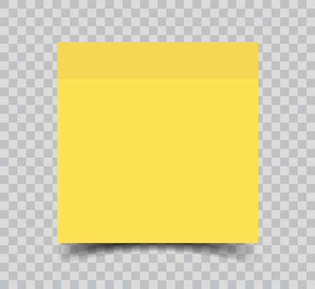 Yellow sticky note paper realistic vector illustration isolated on transparent background