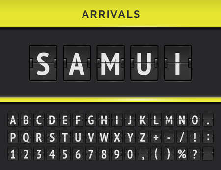 Airport terminal panel with flight mechanical font. Vector Arrivals flip board with destination in Samui island in Malasia.