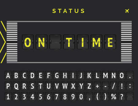 Flight departure status banner in airport runway markup style. Vector Flip font announces that flight comes on time