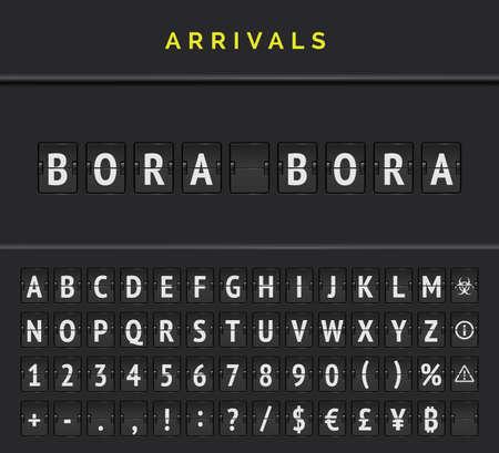 Airport arrivals flip board font