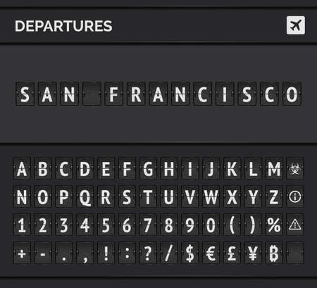 Compact vector banner with airport flip font and airplane icon showing departure to San Francisco in USA