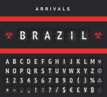 Airport board Arrivals analog vector font. Flights from Brazil closed due to pandemic. Red biohazard sign applied because of covid-19