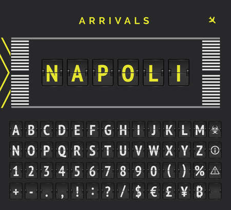 Flight flipping font with airplane icon illustration. Analog flip scoreboard with airport runway markup. Vector banner with arrivals destination as Napoli Ilustração Vetorial