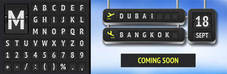 Analog scoreboard font on dark background. Vector airline departure board with destination in Dubai and Bangkok. Realistic flip airport and train board template