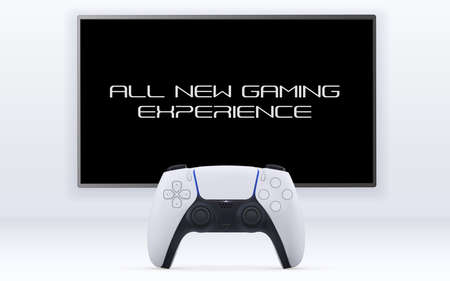 Single player gaming concept. Realistic vector illustration of Gemepad in front of big TV on white wall on white background