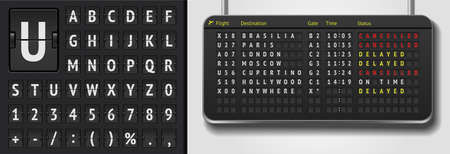 Vector airline departure board isolated. Realistic flip airport board template. Black 3d airport timetable with arrivals. Analog scoreboard font on dark background. Destination airline board