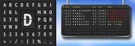 3D Airport scoreboard with cancelled flights due to covid pandemy. Vector Realistic flip airport scoreboard template. Black airport timetable with departures. Airport alphabet board on dark background Vettoriali