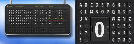Vector airport departure board with font. Realistic flip airline board template. Black 3d airport timetable with arrivals. Analog scoreboard alphabet on dark background. Destination airline board