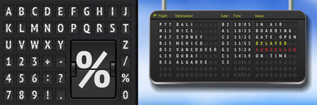 Vector black flip airport scoreboard template. Realistic airport board isolated. 3d airline timetable with departure or arrival with shadows. Analog airport board font on dark background