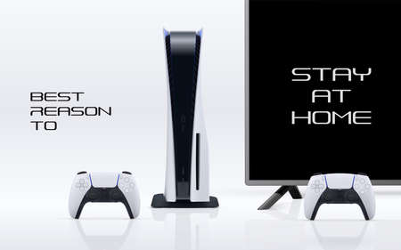 Console gaming banner concept with Stay at home to play message. Vector game station with gamepad controller and tv isolated on white. Vettoriali