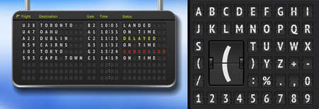 Airport alphabet board on dark background. 3D Airport scoreboard with cancelled flights due to covid pandemy. Vector Realistic flip airport scoreboard template. Black airport timetable with departures