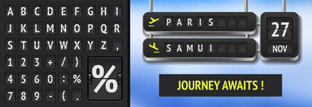 Realistic flip airport and train board template with departure date for banner or advert.