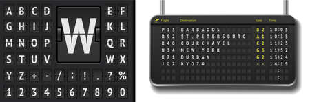 3d airline timetable with departure or arrival with shadows. Realistic flight board isolated. Vector black flip airport scoreboard template. Analog airport board font on dark background 矢量图像