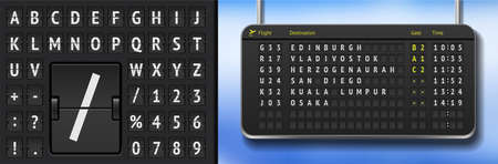 Black airport flight timetable with arrivals. Vector airport departure board with font. Realistic flip airline board template. Analog scoreboard alphabet on dark background. Destination airline board 矢量图像