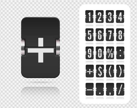 Analog black countdown timer number font. Vector illustration template. Floating flip number and symbol scoreboard with reflections on transparent background.