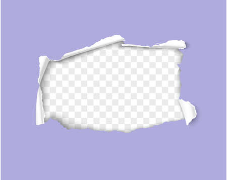 Paper hole with rolled sides realistic 3d vector frame isolated on transparent background