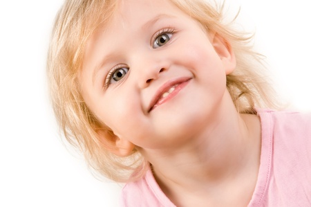 Smiley happy little girl closeup on white background
