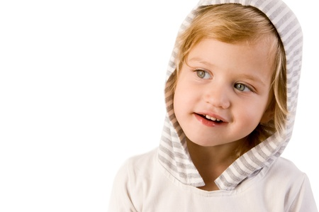 Little cute girl close-up on white background Stock Photo