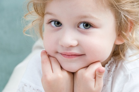 Adorable little girl looking ahead close-up Stock Photo - 10128273