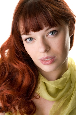 red haired girl and a scarf close-up