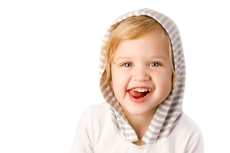 Cheerful little girl on white background Stock Photo