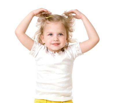 beautiful little girl smiling on white background  Stock Photo