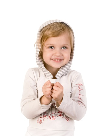 Smiley happy little girl on white background Stock Photo