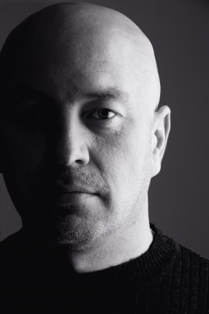 Bald head man  close-up Stock Photo