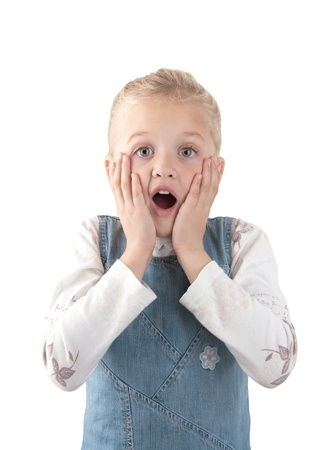 Adorable surprised  little giirl wearing a jean jacket  putting her hands to the face and looking at the camera on white background